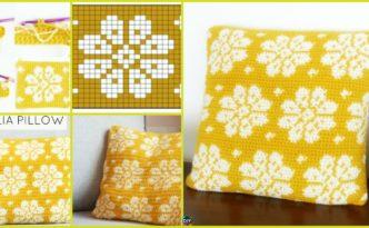 diy4ever- Crochet Dahlia Pillow – Free Pattern