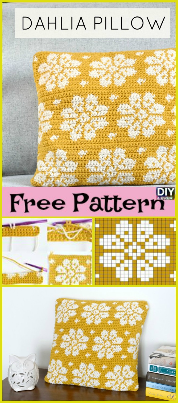 diy4ever- Crochet Dahlia Pillow – Free Pattern