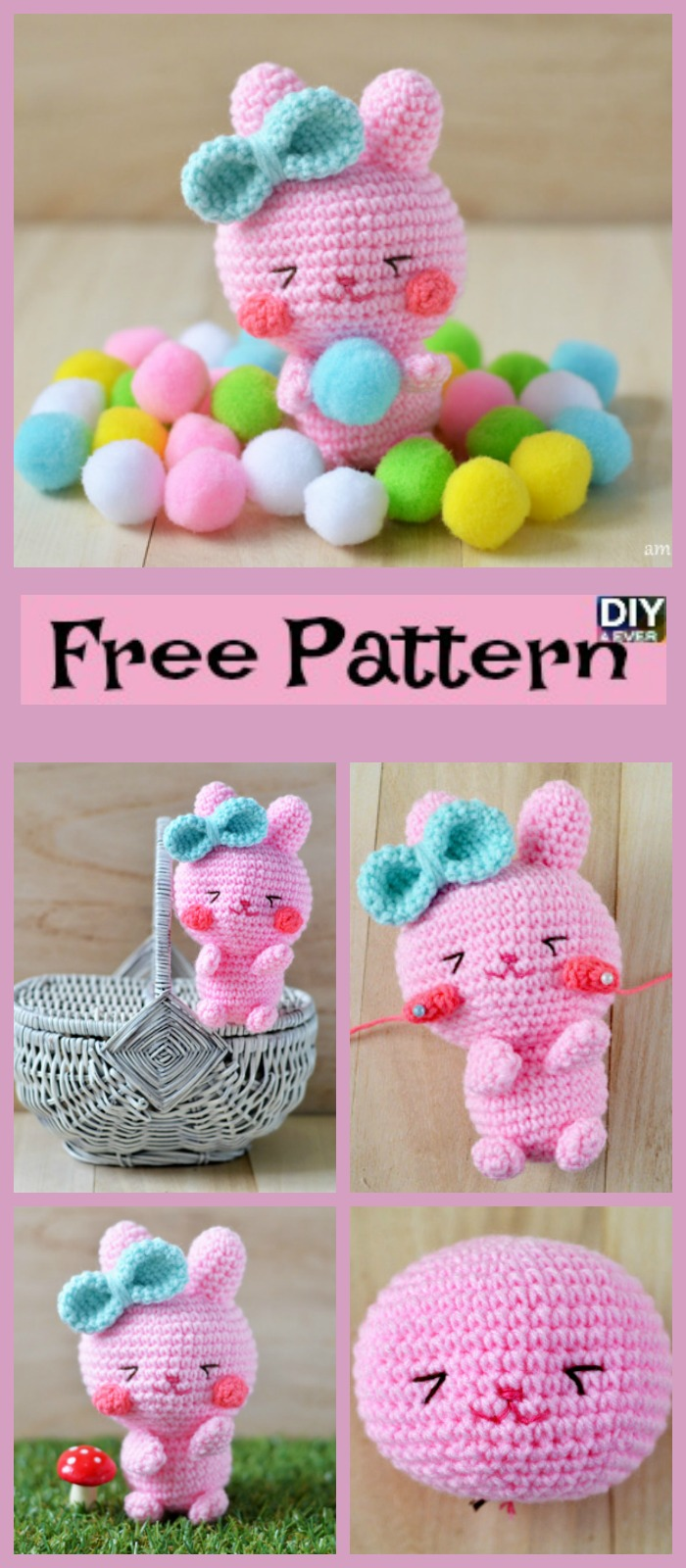 diy4ever- Crochet Easter Bunny Amigurumi - Free Pattern