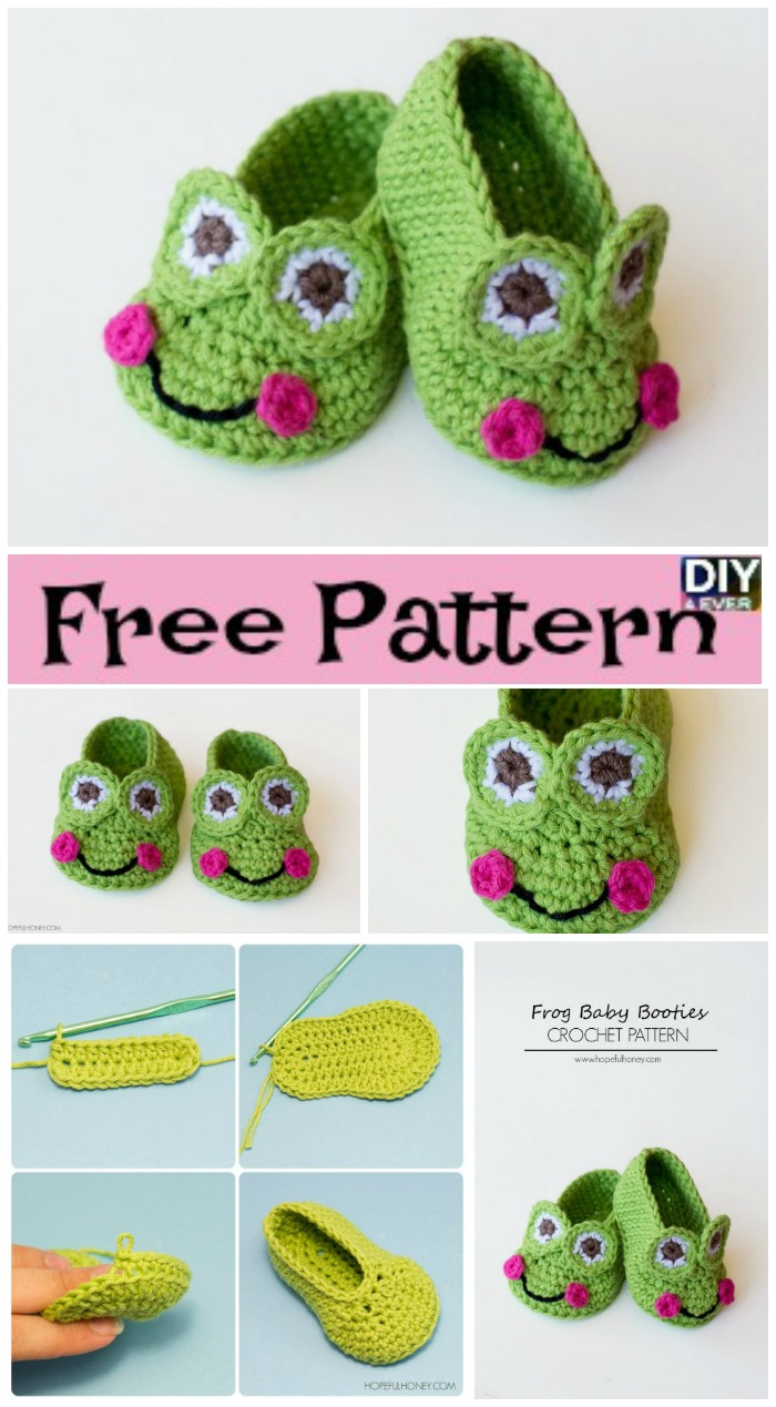 diy4ever- Crochet Frog Baby Booties -Free Pattern