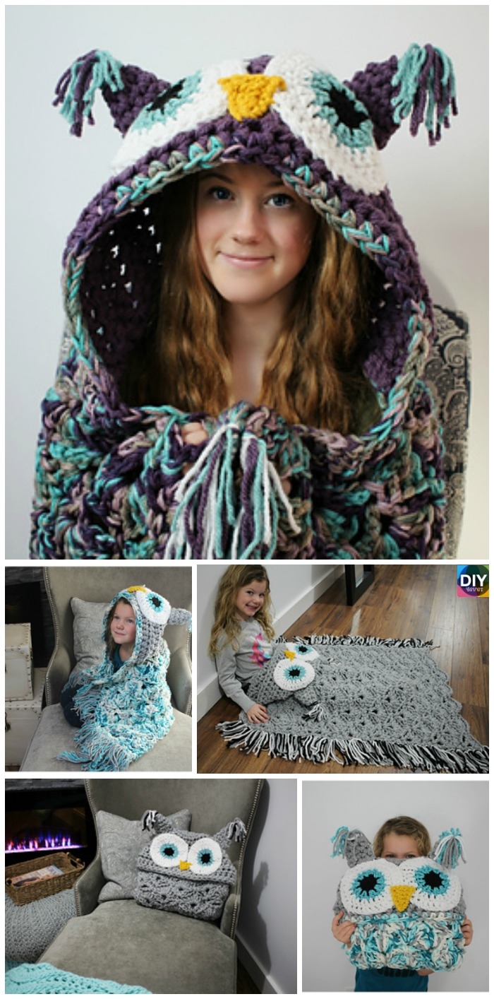 Crochet Hooded Owl Blanket Pattern Diy 4 Ever
