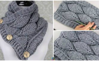 diy4ever- Crochet Leaf Stitch Cowl - Free Pattern