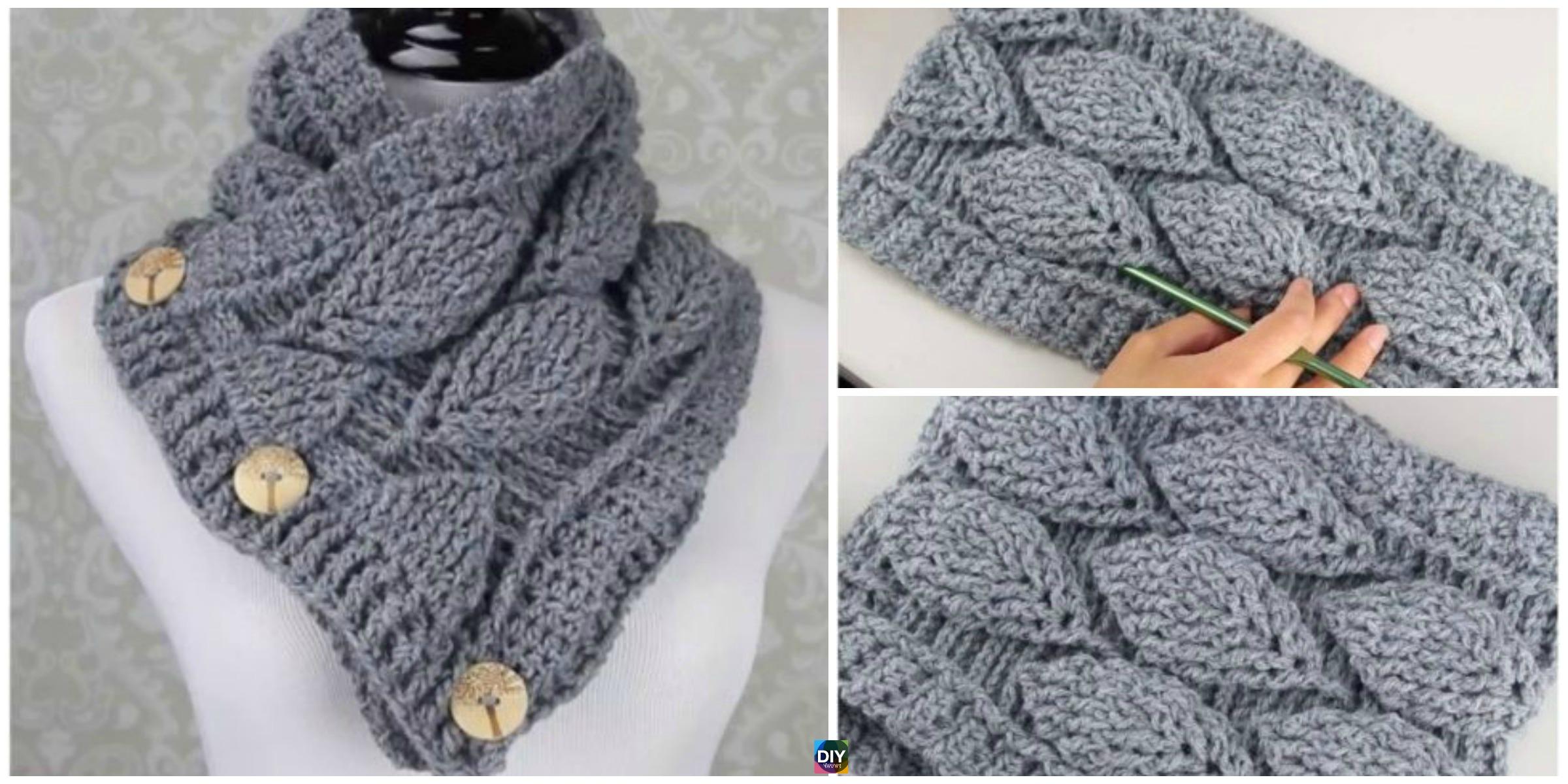 Crochet Leaf Stitch Cowl - Free Pattern - DIY 4 EVER