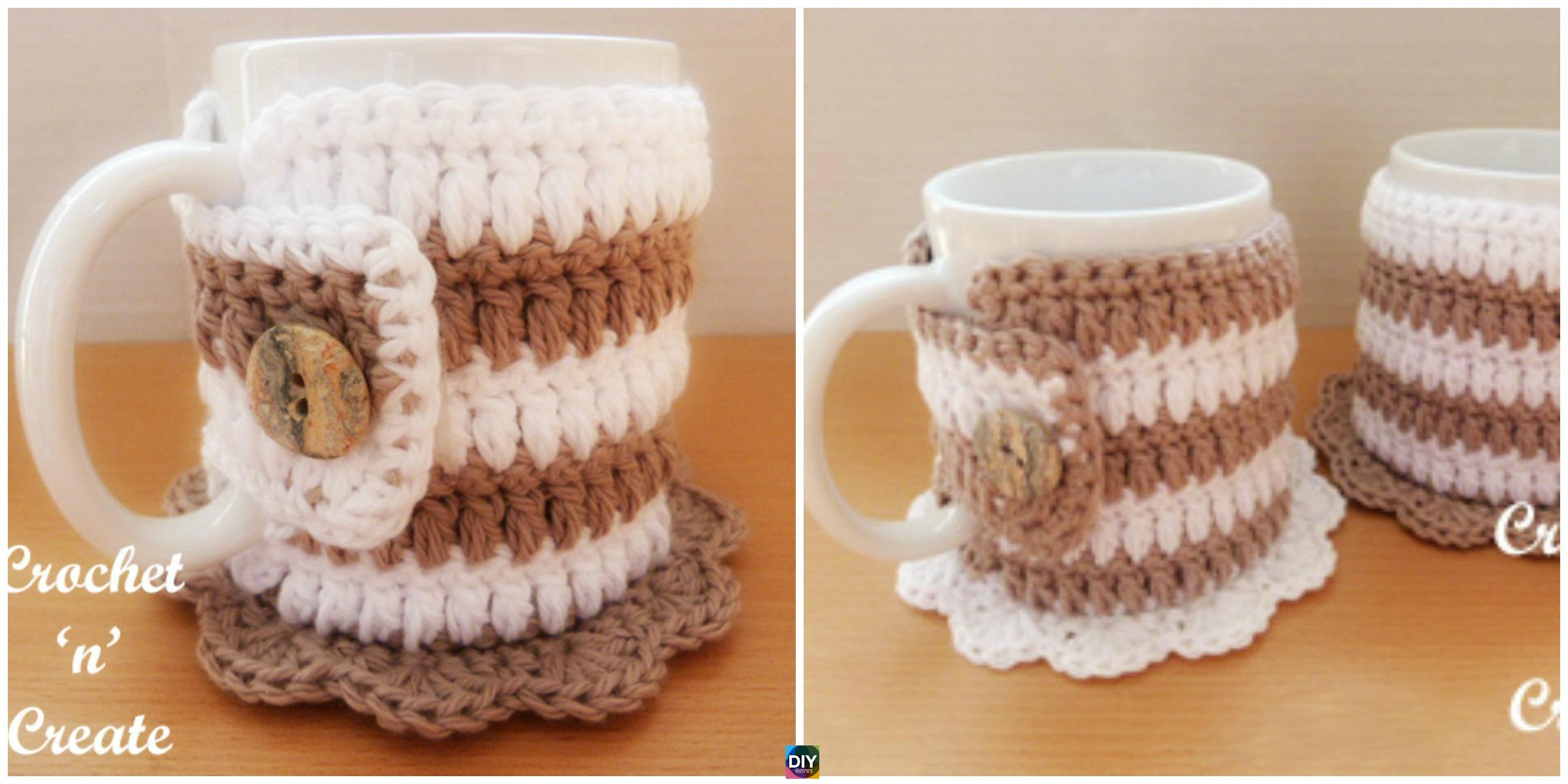 Crochet Mug Cozy Coaster - Free Pattern - DIY 4 EVER