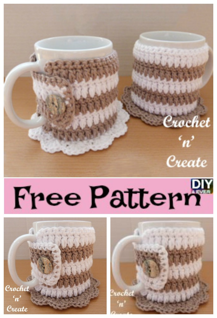 Crochet Mug Cozy Coaster Free Pattern Diy 4 Ever