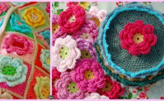 diy4ever-Crochet Rose Flower Squares - Free Pattern