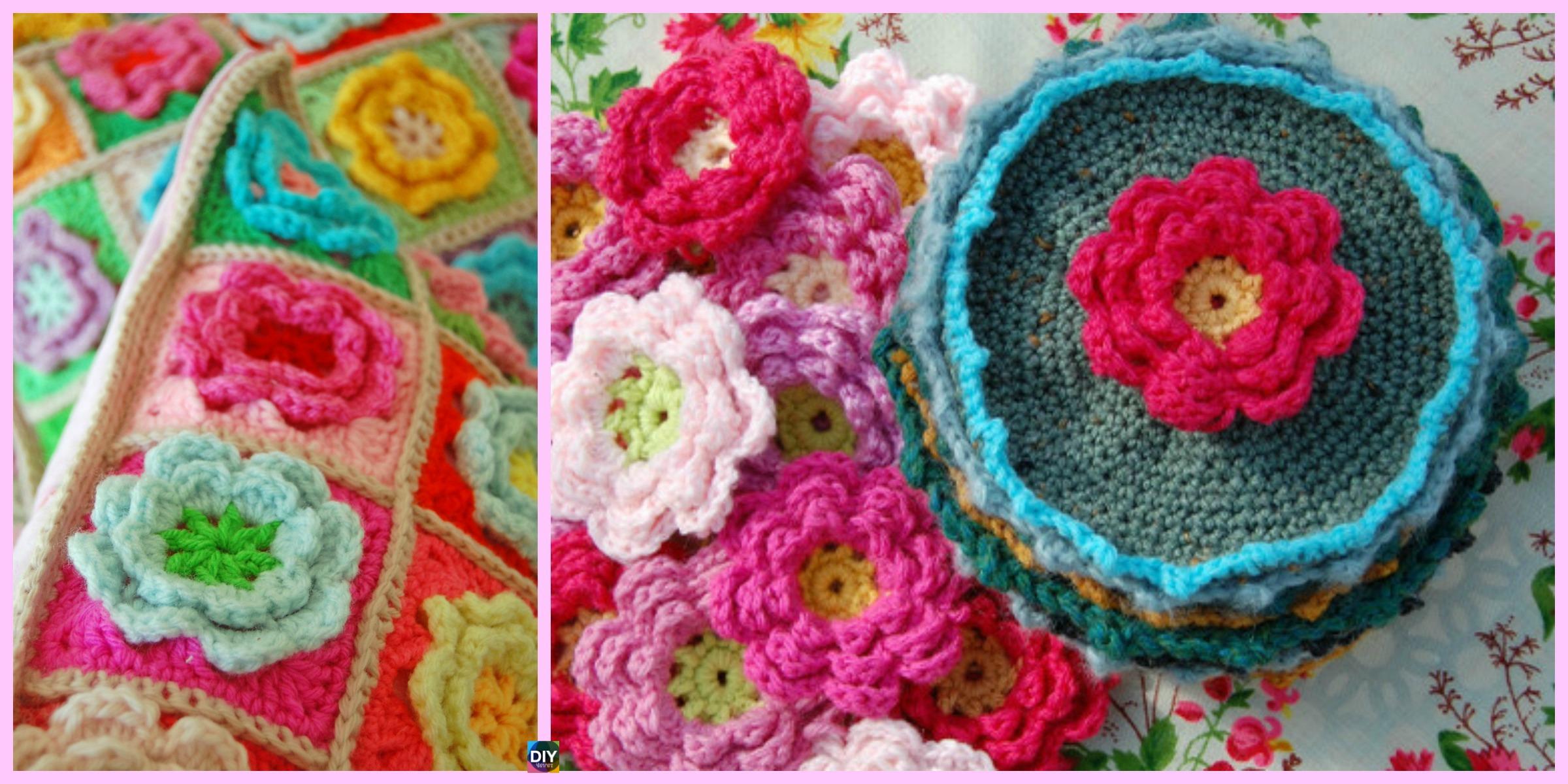 Crochet Rose Flower Squares - Free Pattern - DIY 4 EVER