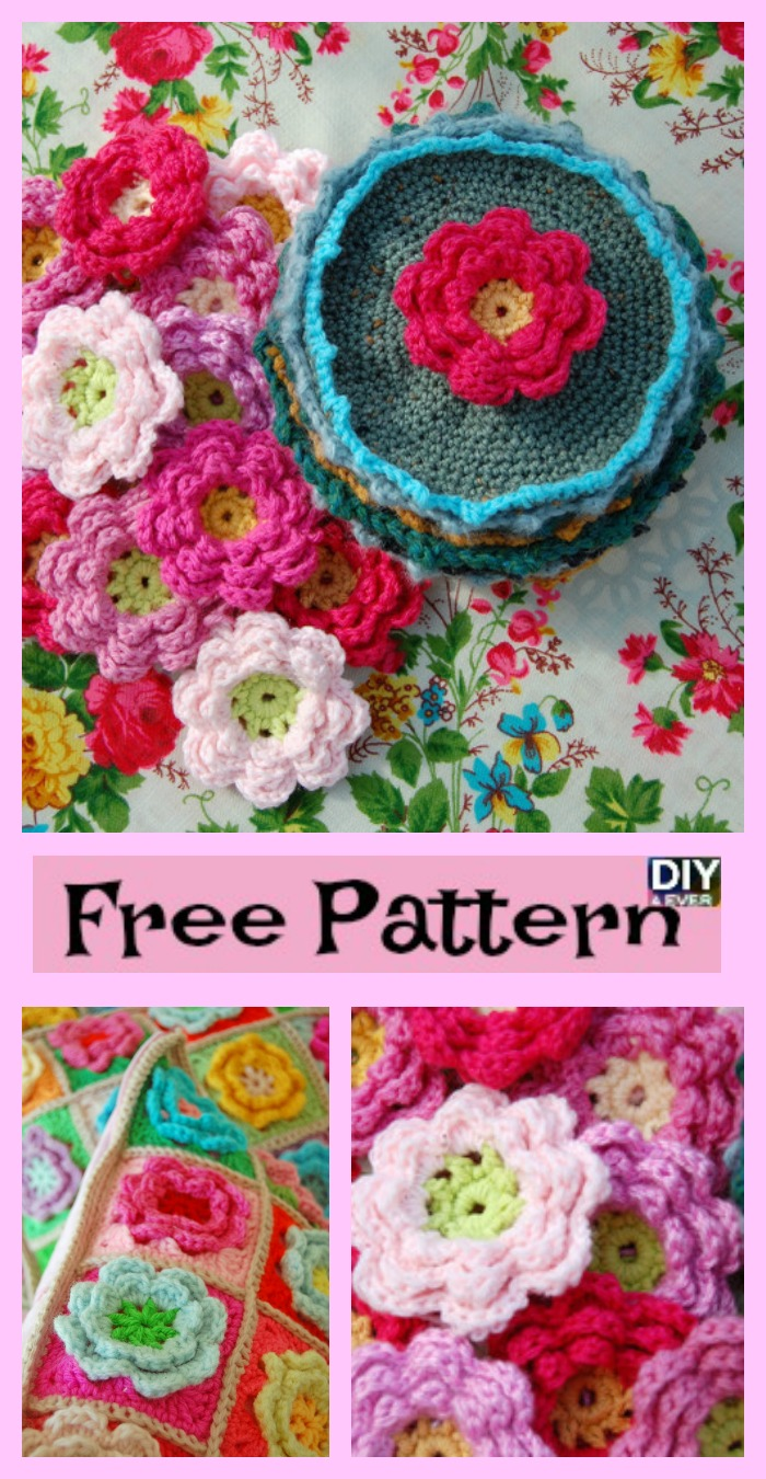 diy4ever-Crochet Rose Flower Squares - Free Pattern