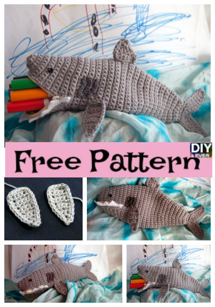Crochet Shark Time Pouch Free Pattern Diy 4 Ever