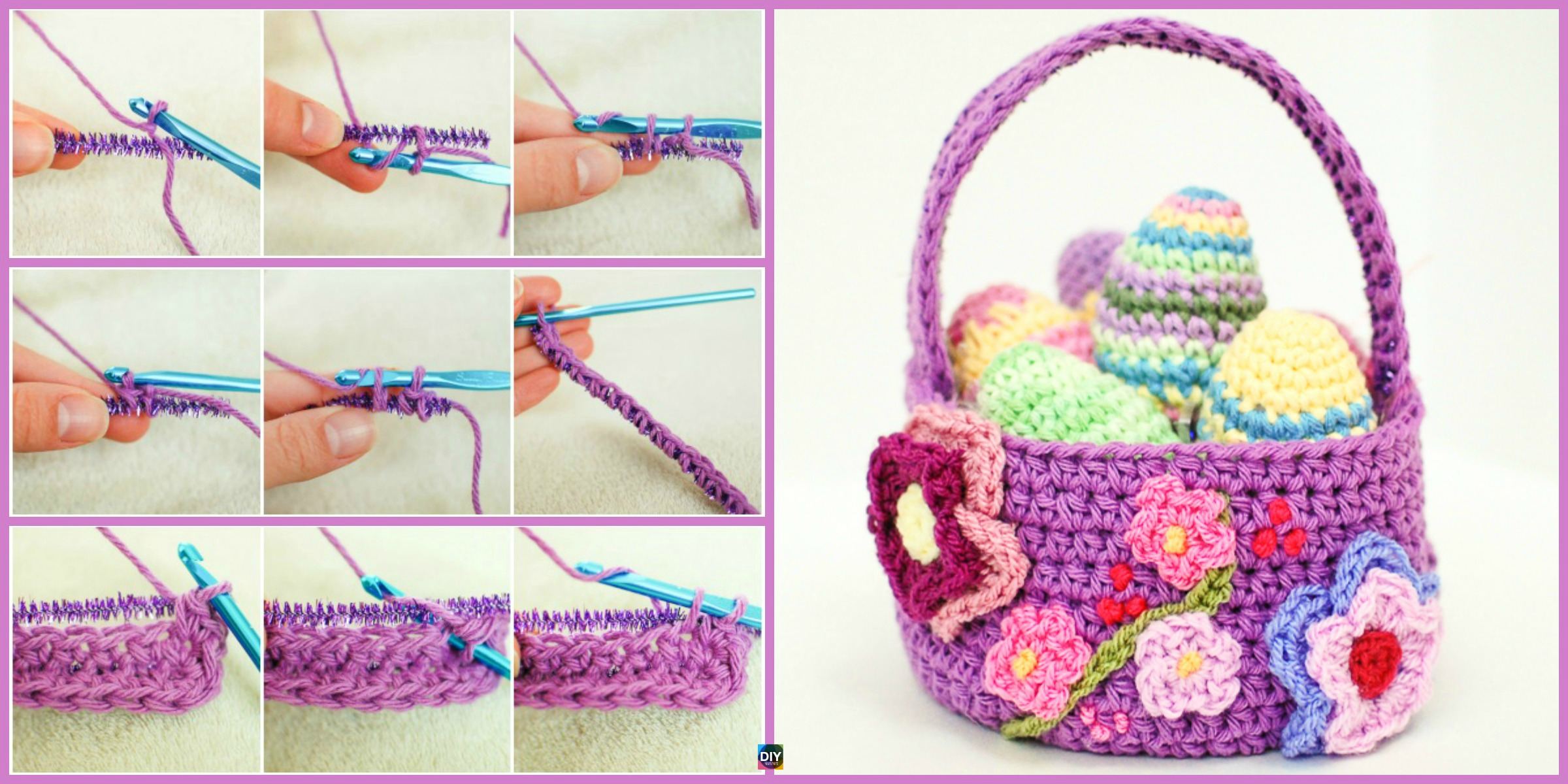 diy4ever- Crochet Spring Basket - Free Pattern