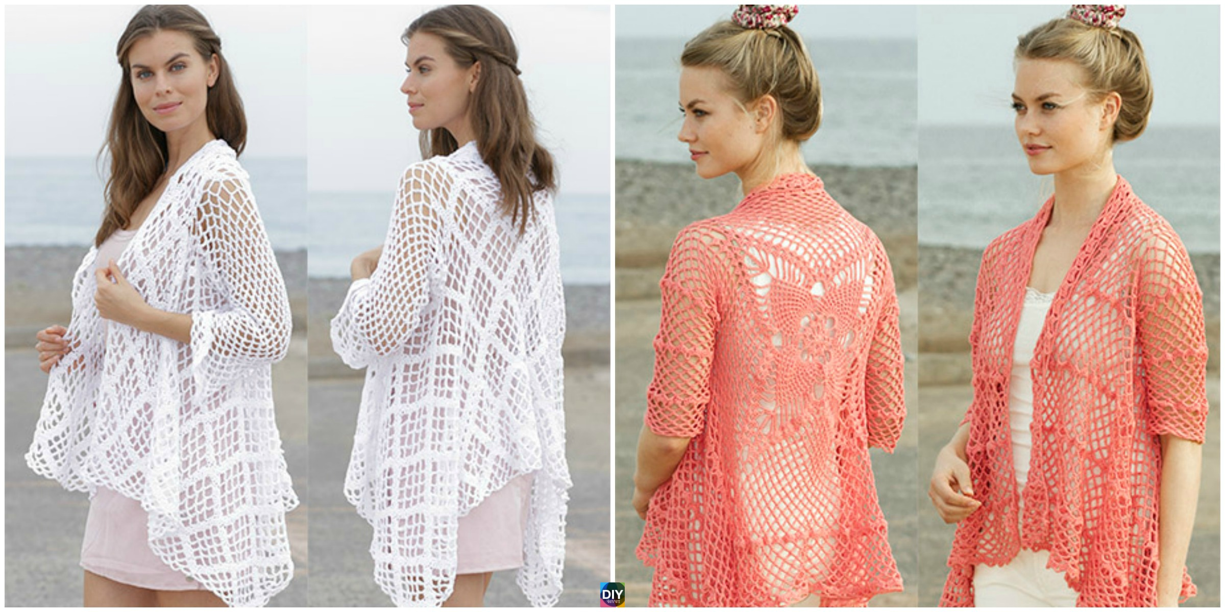 Crocheted Lace Pattern Jacket - Free Patterns - DIY 4 EVER