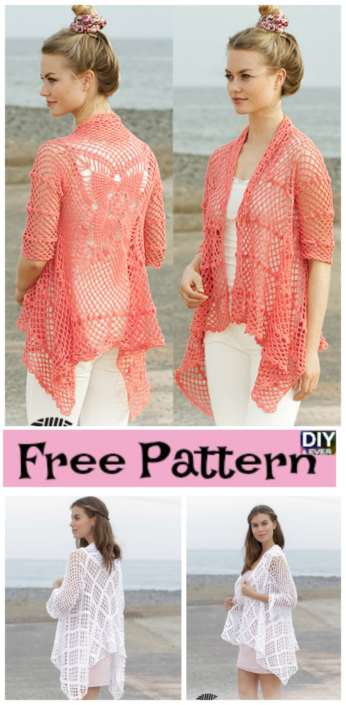 diy4ever- Crocheted Lace Pattern Jacket - Free Patterns