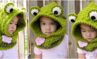 diy4ever-Cute Crochet Frog Hooded Cowl Pattern