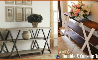 diy4ever-DIY Double X Console Table - Free Plan