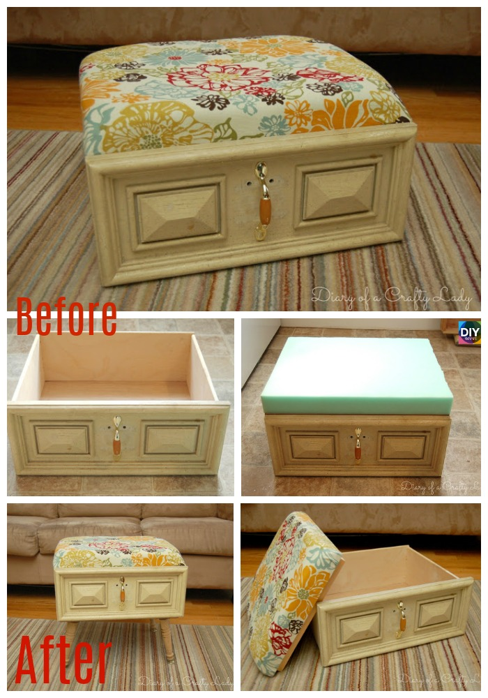 diy4ever- DIY Old Drawer Ottoman Step by Step Tutoiral