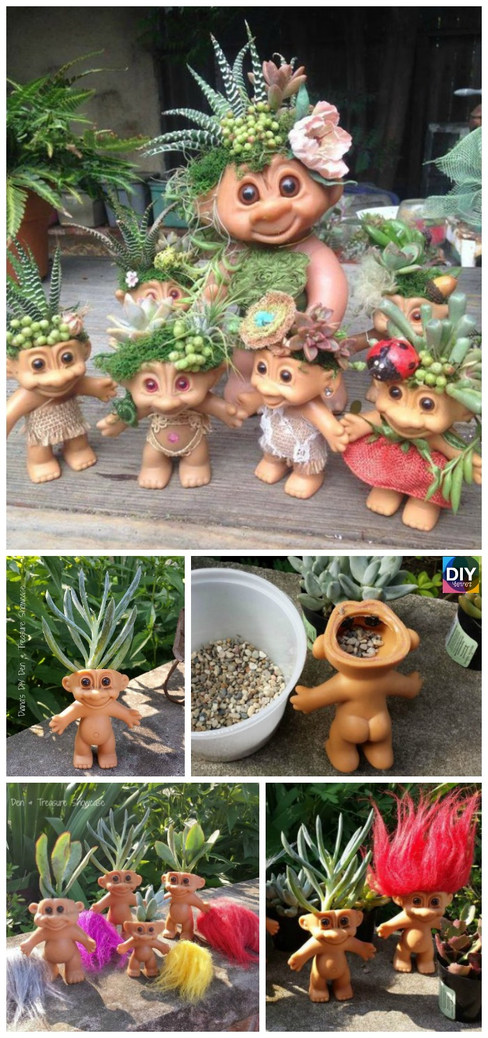 diy4ever- DIY Troll Doll Planters Tutorial & Video