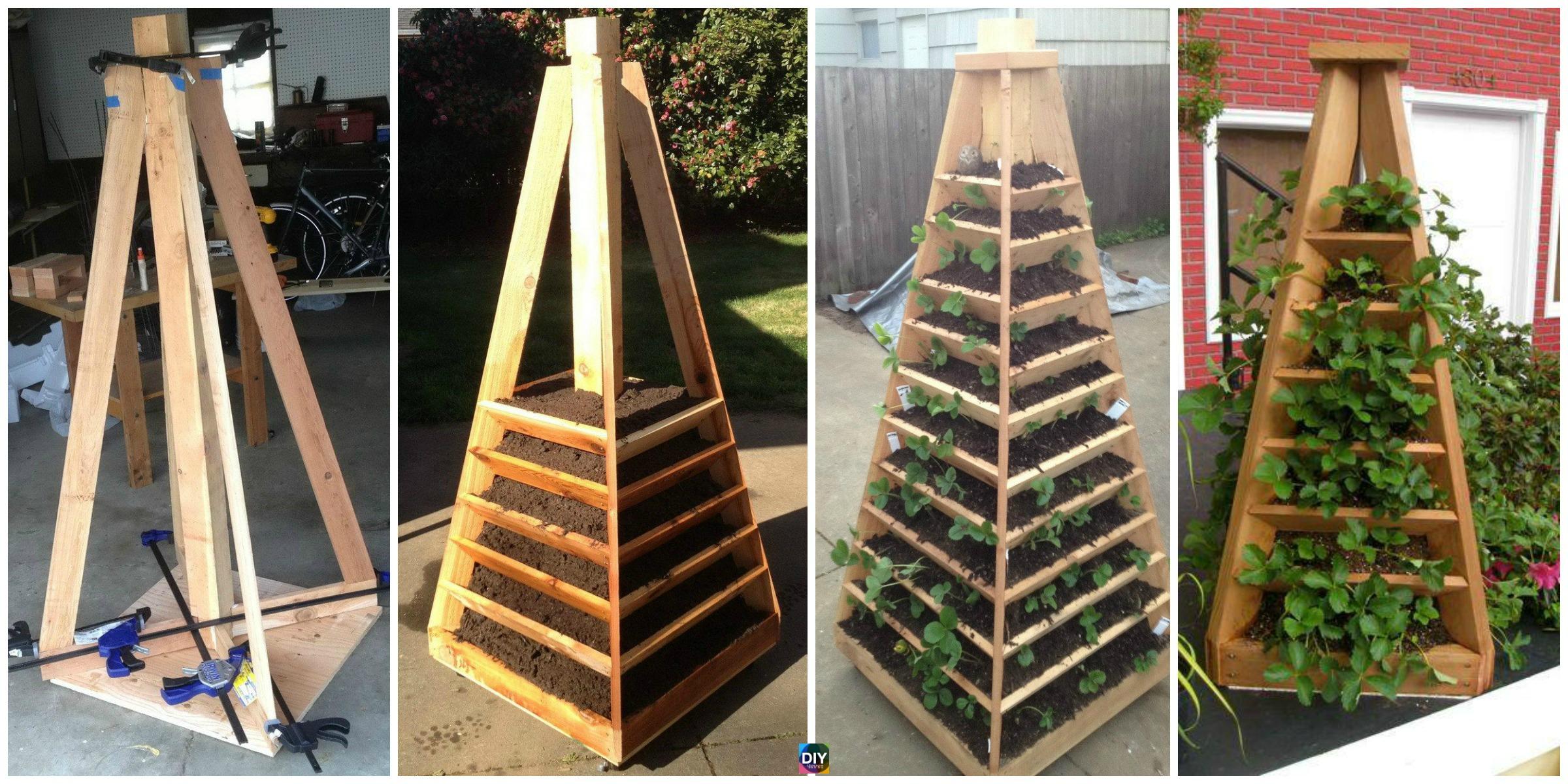 How to DIY Vertical Garden Pyramid Tower - DIY 4 EVER