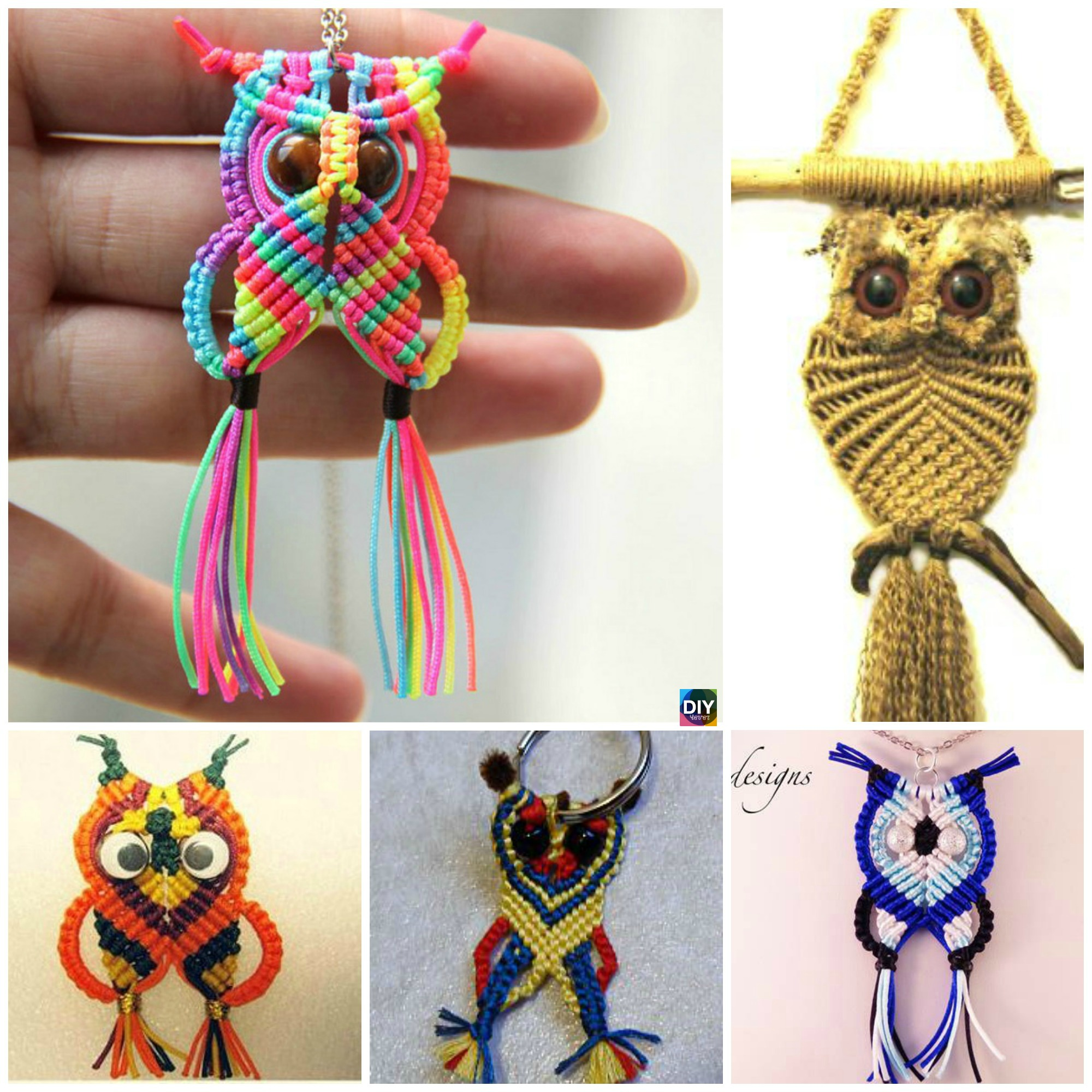 diy4ever- How to DIY Rainbow Macrame Owls
