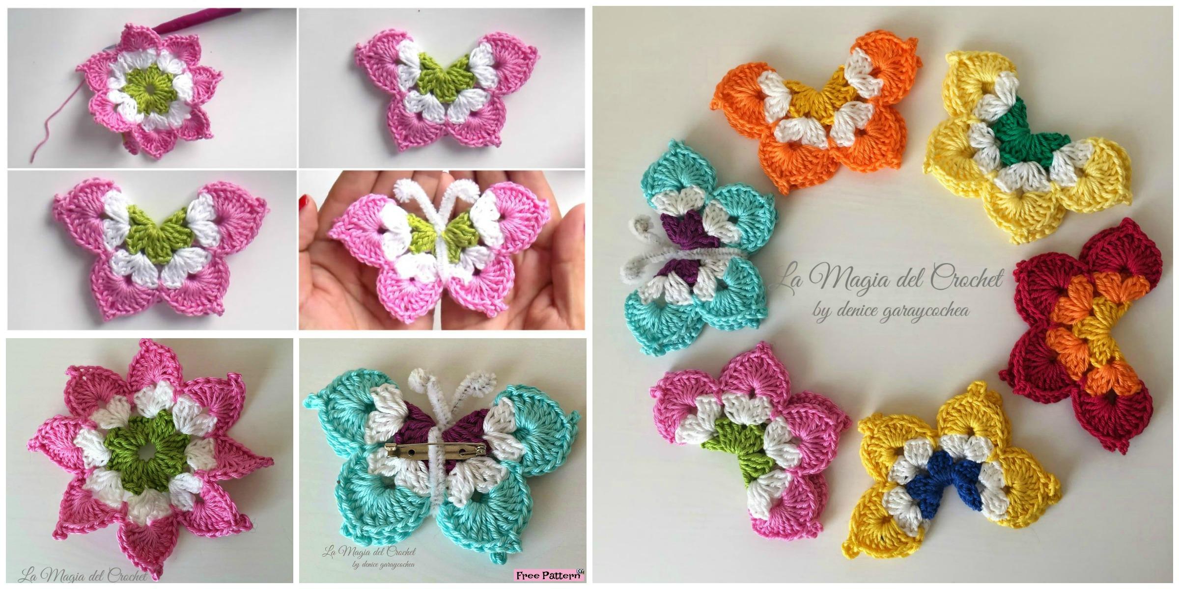 Pretty Crochet Butterflies - Free Pattern - DIY 4 EVER
