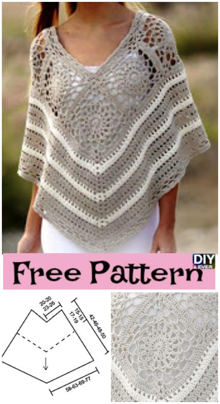 Pretty Crochet Poncho - Free Pattern - DIY 4 EVER
