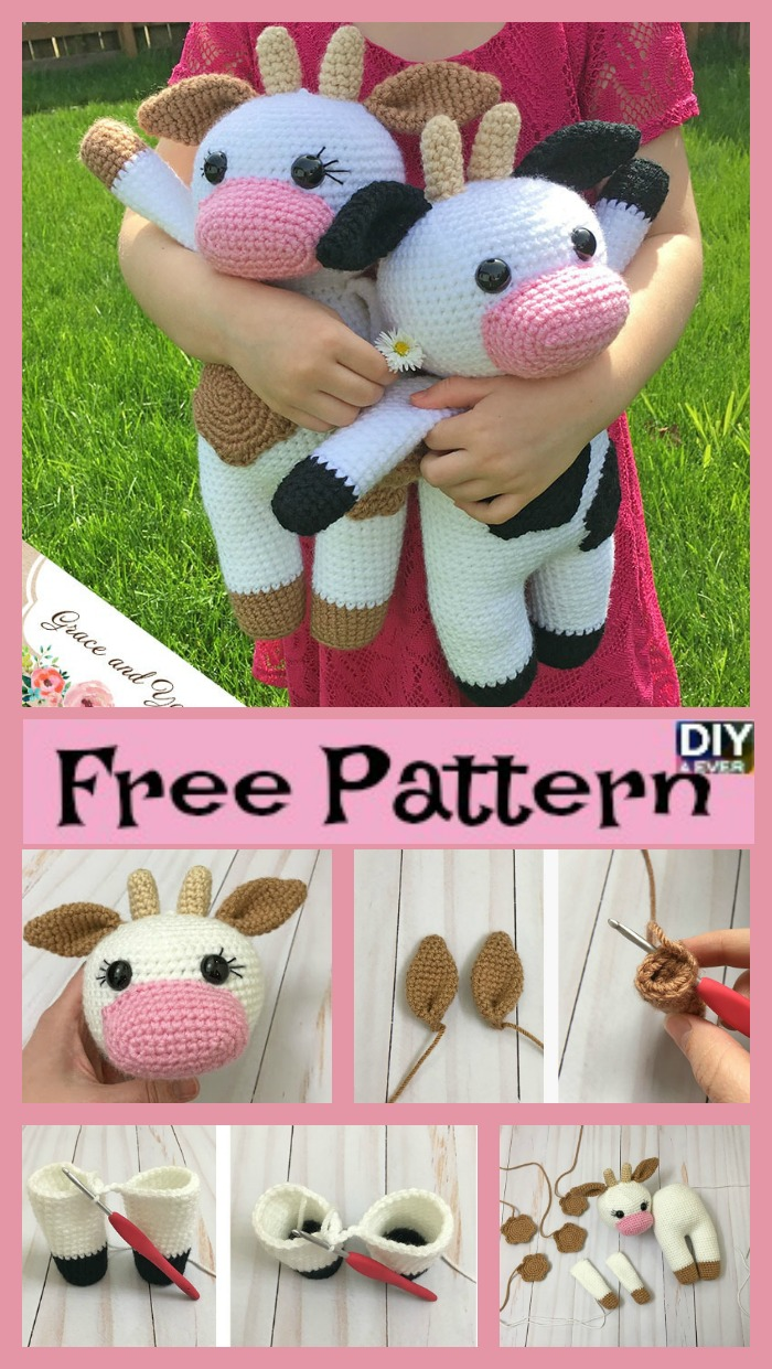 diy4ever- Crochet Amigurumi Cow - Free Pattern