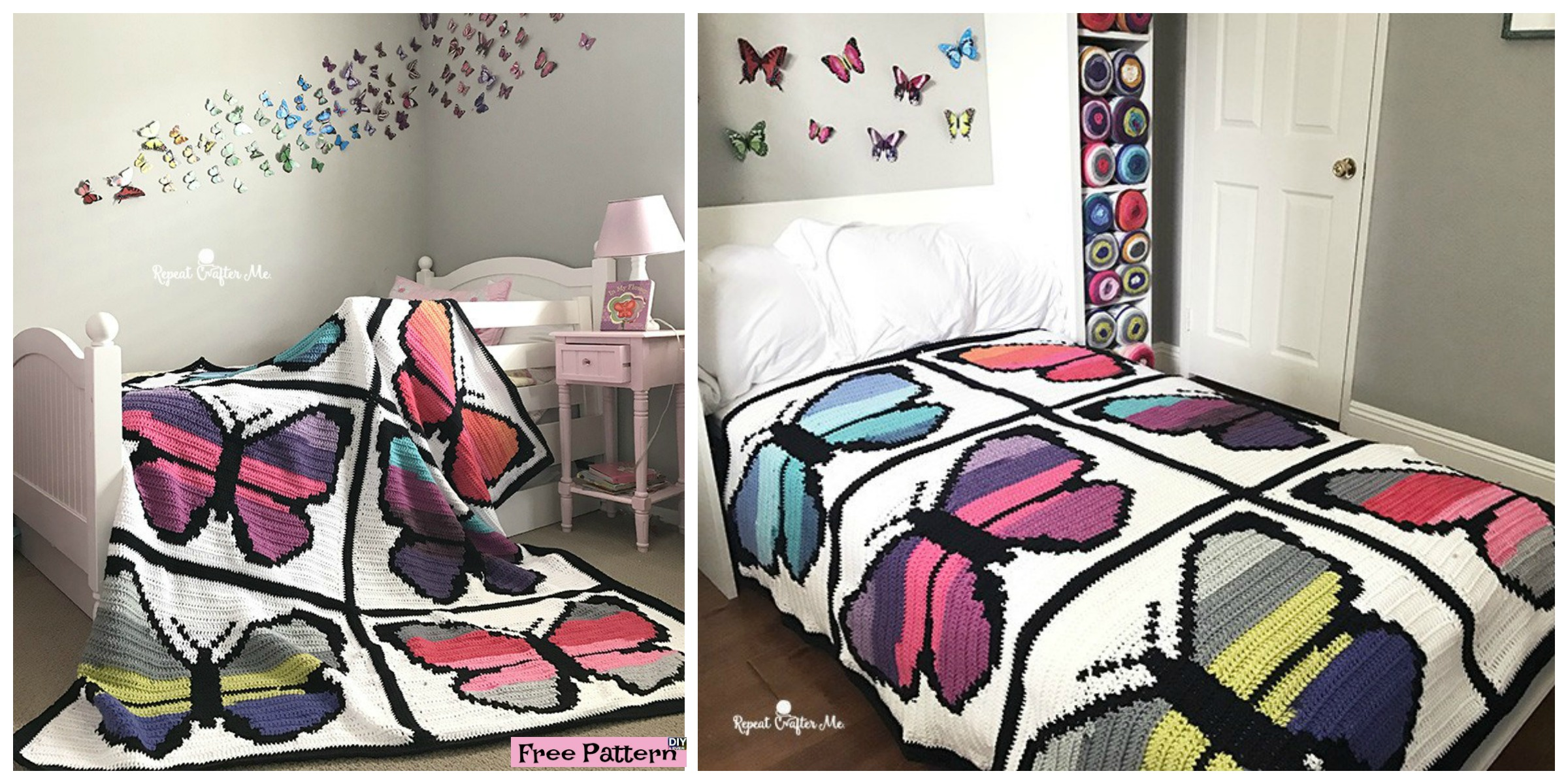 diy4ever- Crochet Butterfly Blanket - Free Pattern