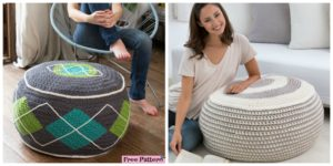 diy4ever-Stylish Crochet Ottoman - Free Pattern
