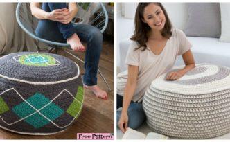 diy4ever-Stylish Crochet Ottoman - Free Pattern
