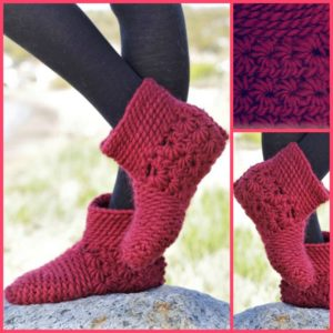 diy4ever-Unique Crochet Star Stitch Slippers - Free Pattern
