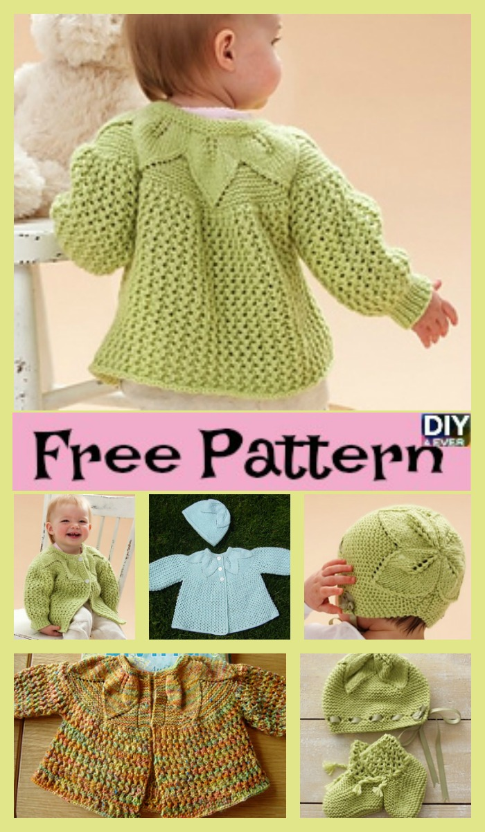 diy4ever- Adorable Knit Leaf Sweater Set - Free Pattern