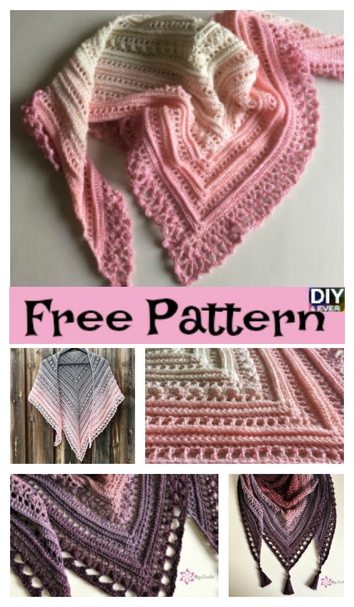 diy4ever- Beauiful Crochet Lace Shawl - Free Pattern
