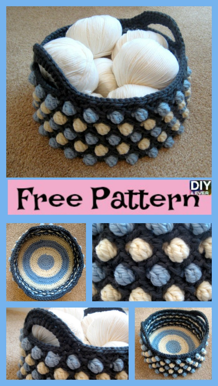 diy4ever-Beautiful Crochet Round Basket - Free Pattern