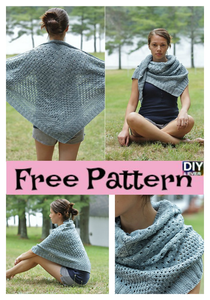 Beautiful Knit Triangle Shawl - Free Pattern - DIY 4 EVER