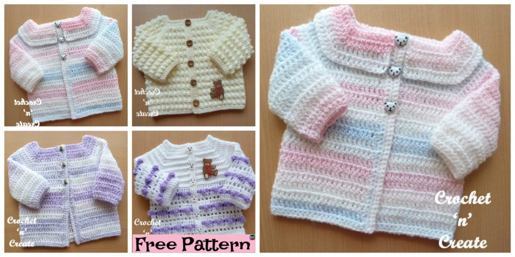 d045002cf Cozy Crocheted Baby Cardigan - Free Patterns - DIY 4 EVER