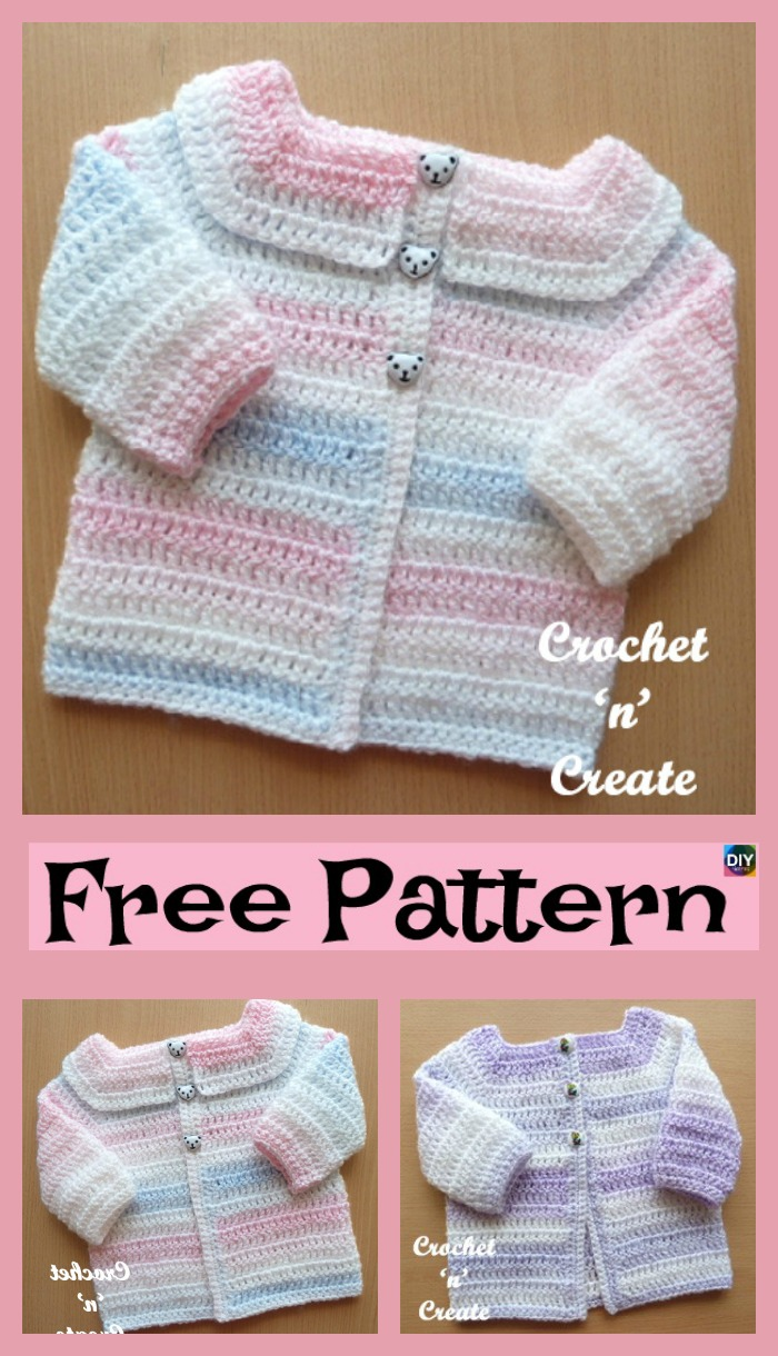 diy4ever-Cozy Crocheted Baby Cardigan - Free Patterns