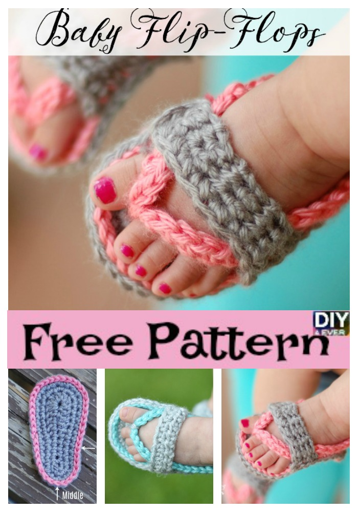 diy4ever- Crochet Baby Flip Flop Sandals -Free Pattern