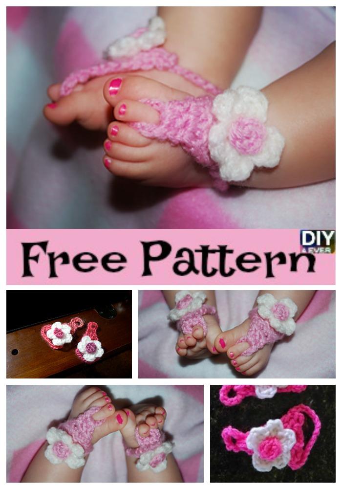 diy4ever Crochet Baby Flower Sandals - Free Pattern