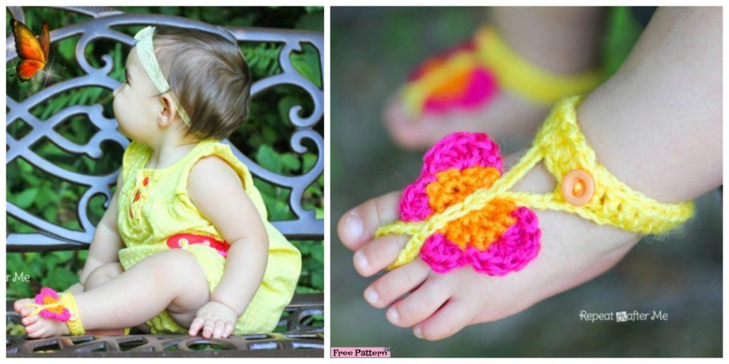 Cute Crochet Butterfly Sandals Free Pattern Diy 4 Ever
