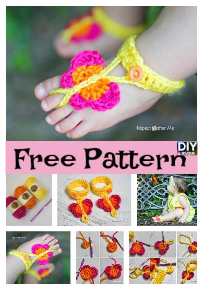 diy4ever-Cute Crochet Butterfly Sandals - Free Pattern