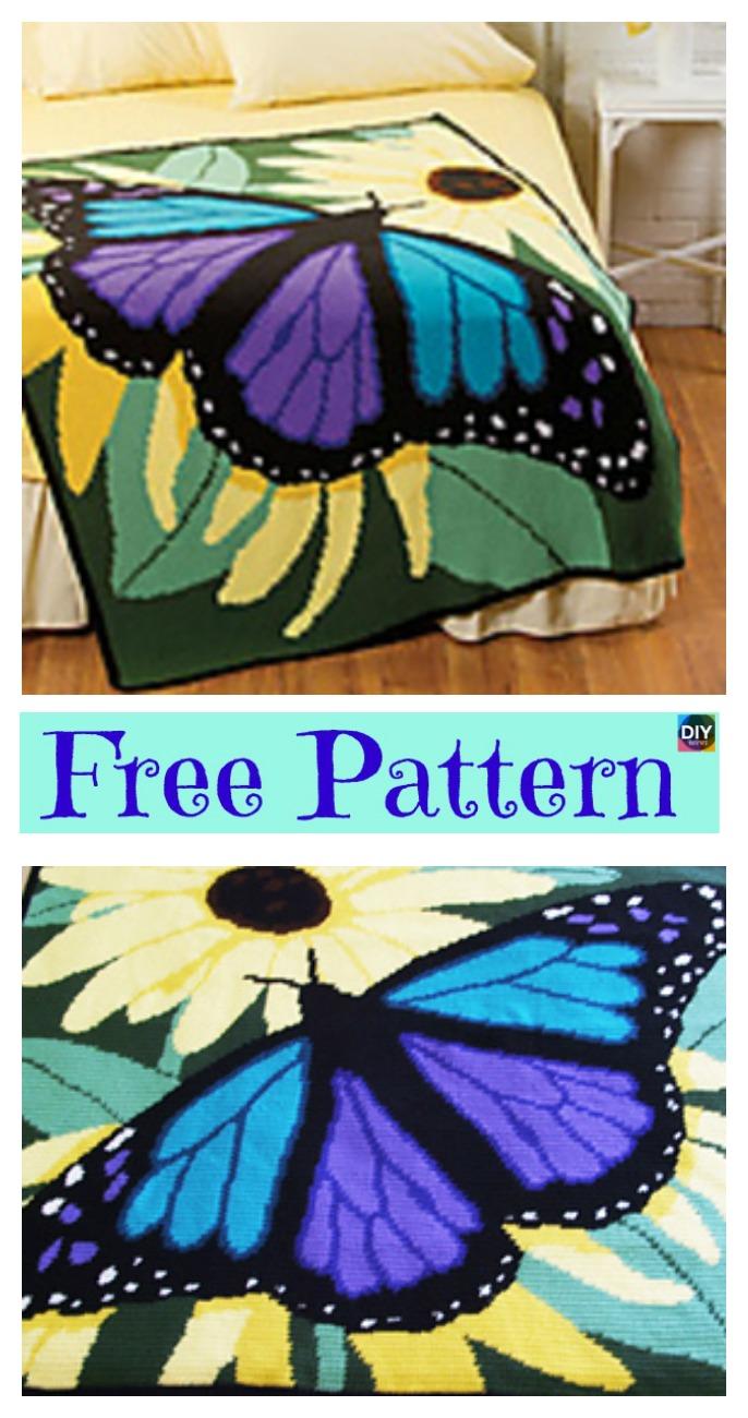 diy4ever-Crochet Butterfly Blanket – Free Pattern