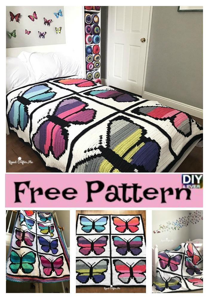 diy4ever- Crochet Butterfly Blanket - Free Pattern