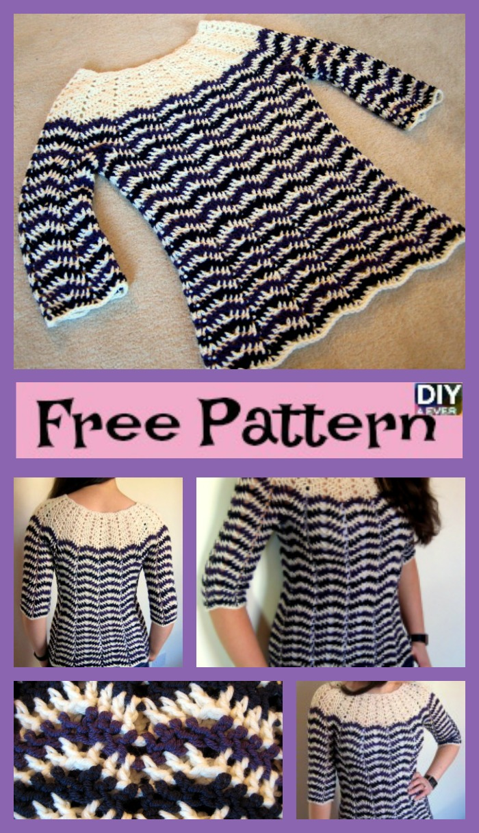 diy4ever- Crochet Chevron Stripes Sweater - Free Pattern