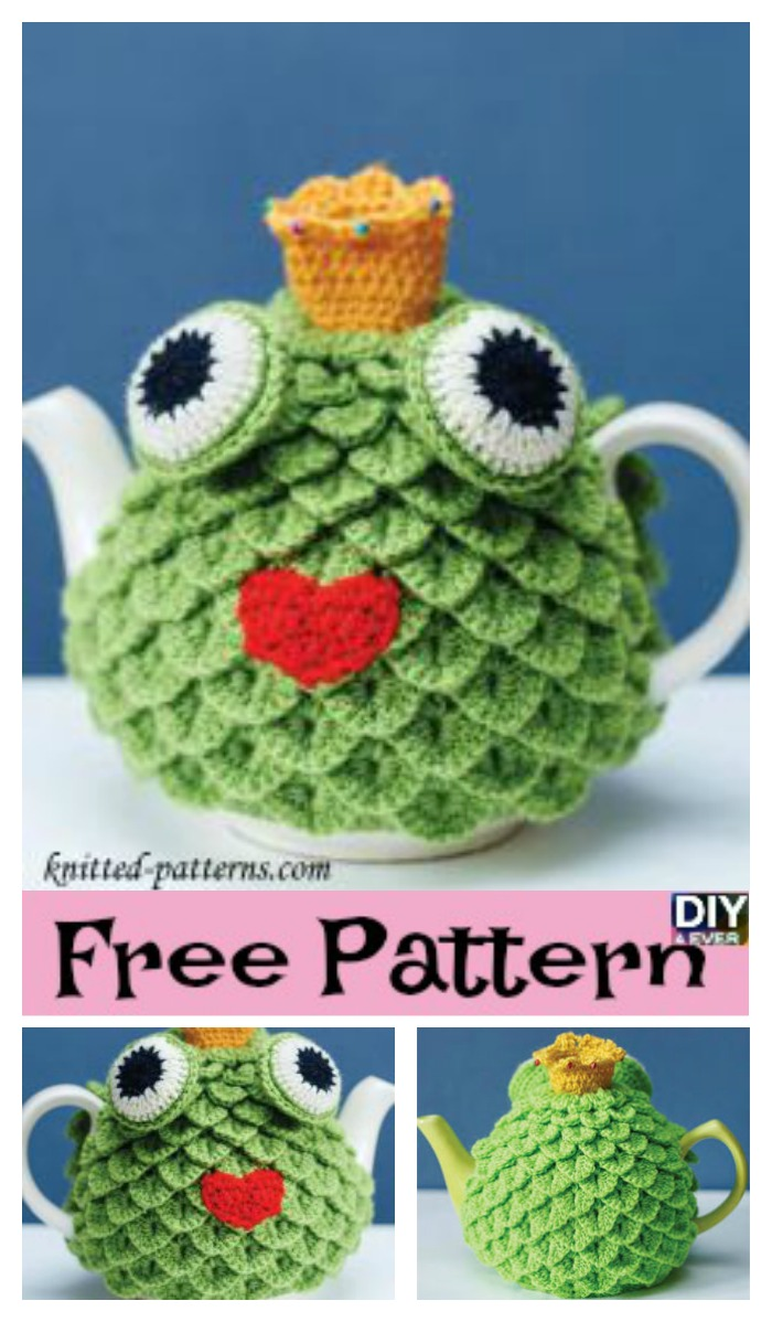 diy4ever- Crochet Crocodile Stitch Tea Cosy - Free Pattern