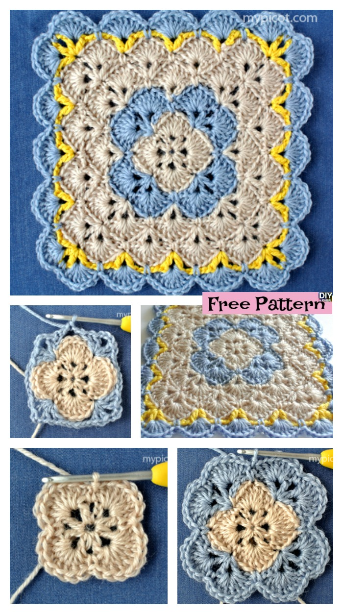 diy4ever- Crochet Shell Square Blanket - Free Pattern