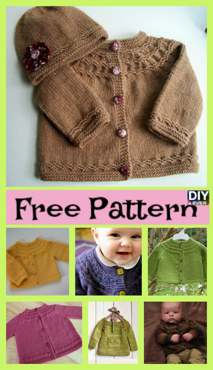 diy4ever- Cute Cozy Knitted Baby Sweater - Free Pattern