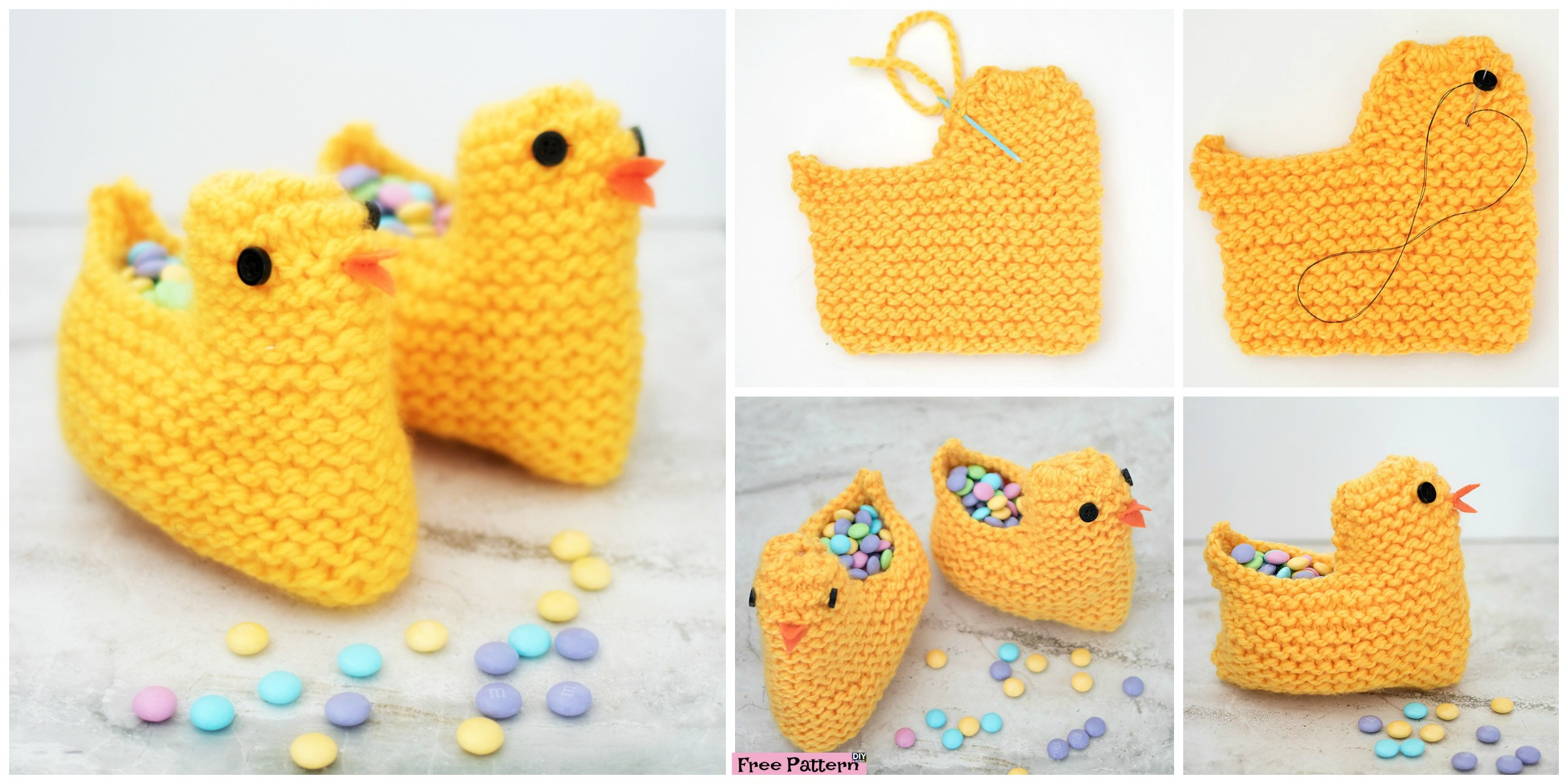 diy4ever- Cute Knit Chick Basket - Free Pattern
