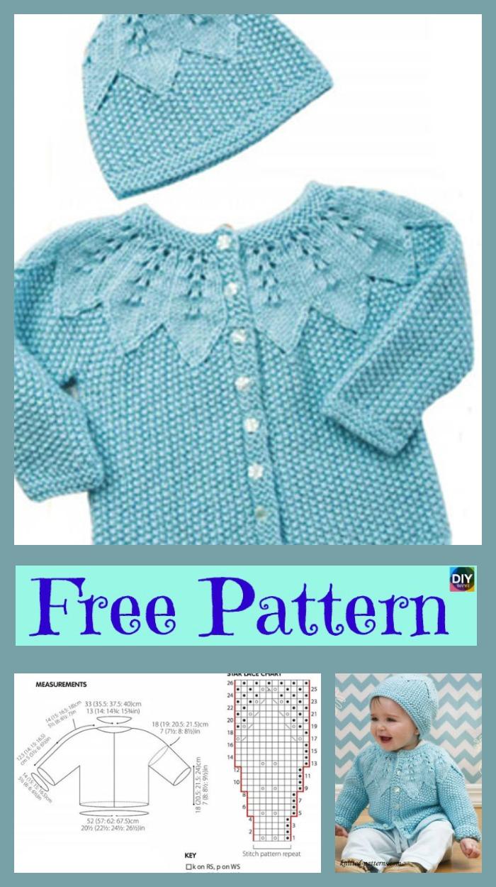 Cute Knitting Baby Cardigan - Free Patterns - DIY 4 EVER