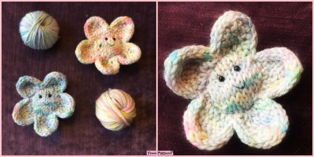 Cute Smiley Knit Flower Free Pattern Diy 4 Ever