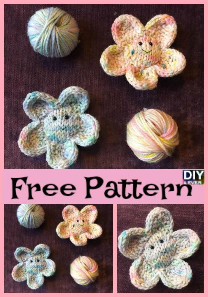 Cute Smiley Knit Flower Free Pattern Diy 4 Ever