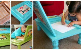 diy4ever- DIY Art Desk From Recycled Cabinet Door